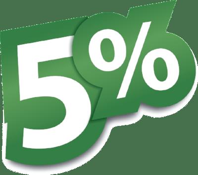 При оформлении заказа через промо-код скидка 5%
